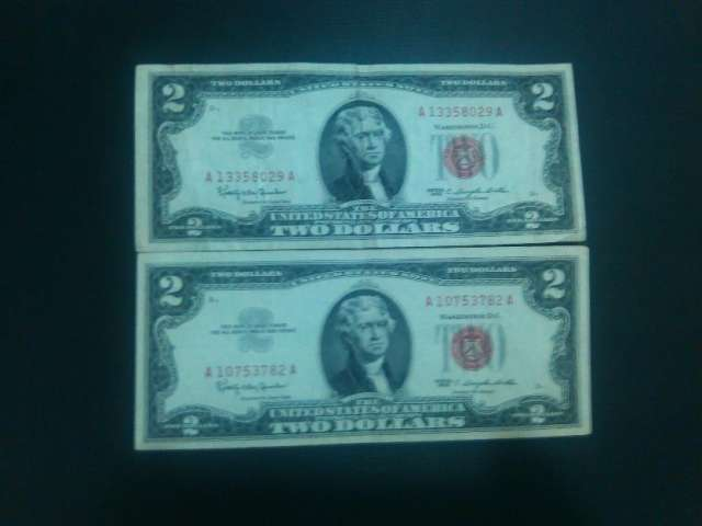 Dolares de $2 $5 excelentes sello rojo 1963 1953