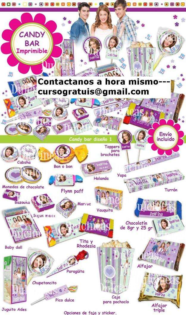 Kit imprimible candy bar violeta disney editable 4 en 1 en San ...