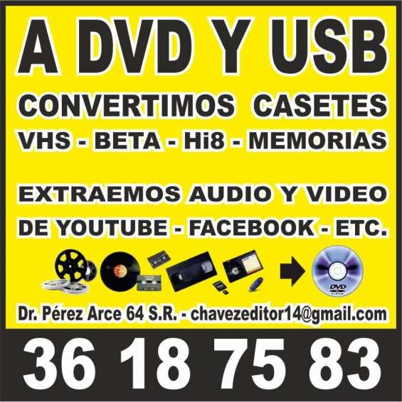 Conversion a dvd y usb de casetes ahora en gdl
