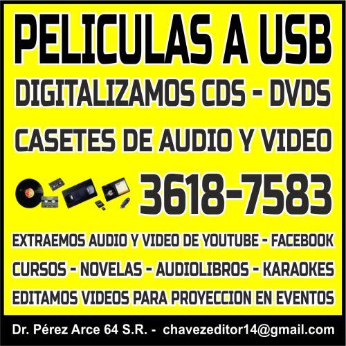 Peliculas a usb y conversion a dvd de videos en gdl