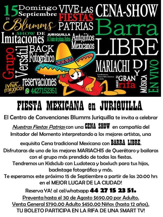 Fiesta mexicana en blumms cena show barra libre musica en vivo